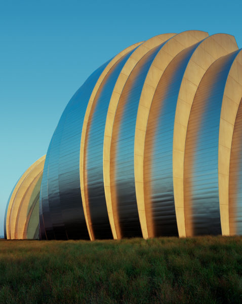Northwest exterior photo of the Kauffman Center for the Performing Arts in Kansas City, MO. Photo by Tim Hursley.