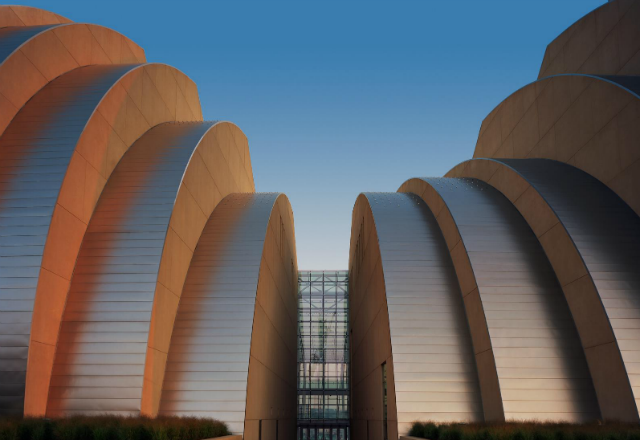 Kauffman Center exterior at sunset - photo by Tim Hursley