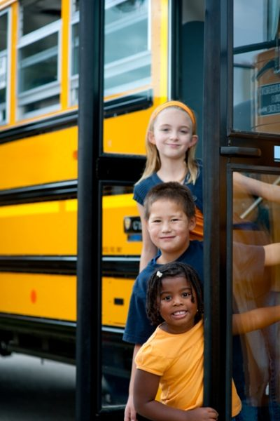 Resized Small School Bus Children Stock Photo