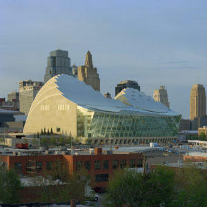 Kauffman Center with Kansas City Skyline